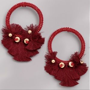 Jewelry - NEW Burgundy Acrylic Beaded Tassel Hoop Earrings